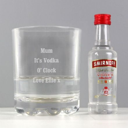 Personalised Tumbler Glass & Miniature Smirnoff Vodka Set
